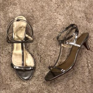 "J. Crew ""Greta"" Pewter Metallic Leather Heels NWOT"